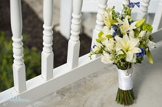 bridal bouquet on porch